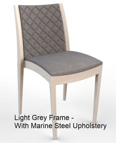 Lifetime Outdoor - Quilted Back. Side Chair with Light Grey Frame. Upholstery in 4 Colours