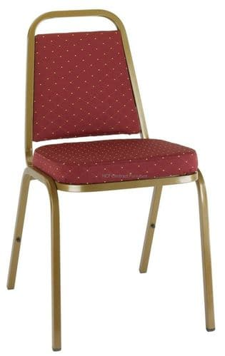 Molly Gold Frame Stacking Chair-Burgundy Red Pattern