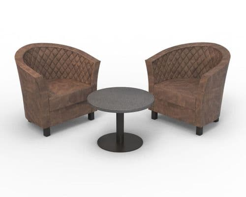 Monaco Designer Tub Chair - 2 x Deep Quilted Back Chair & Coffee Table Set - Distressed Leather