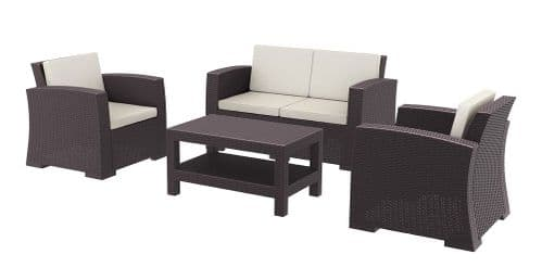 Paris Complete Brown Sofa Set - With  CoffeeTable & Cushions -