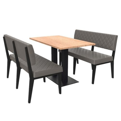 Simplicity Deluxe Quilted  - Complete 4 Seater Booth Set  -  1200mm Wide - Includes Table