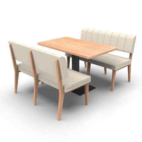 Simplicity Luxury - Complete 4 Seater Booth Set  -  1200mm Wide - Includes Table