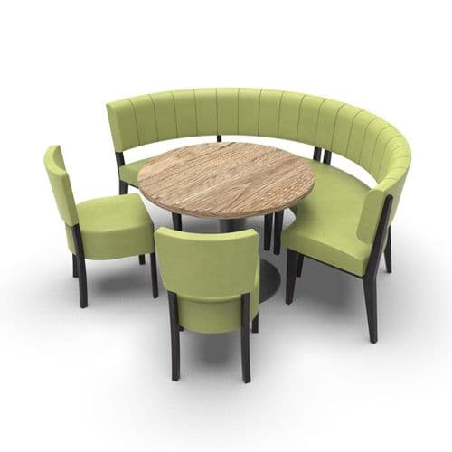 Simplicity Luxury - Round Booth Seating  - Medium 1/2  Circle with Table and Chairs