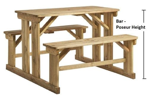 Sorrento Large 'Walk in' Poseur Bar Height Picnic Bench - 8 Seater