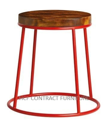 Spruce Low Stool (P) Rustic Pine/Red