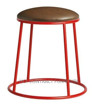 Spruce Low Stools (P) Upholstered Seat/Red