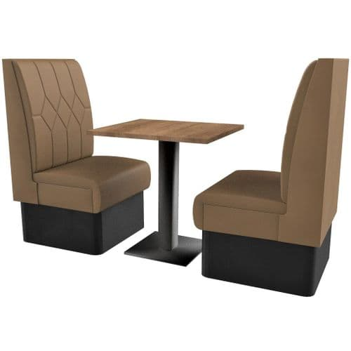 Supreme Diamond Quilted High Back - 2 Seater Booth Set 600mm