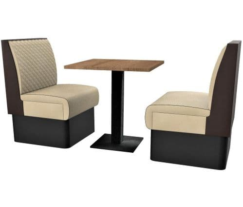 Supreme Quilted Standard Height 2 Seater Booth Set 600mm