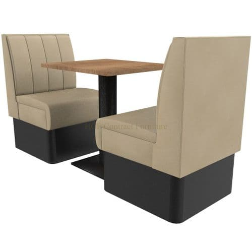 Supreme Stitch Fluted Standard Height - 2 Seater Booth Set 600mm