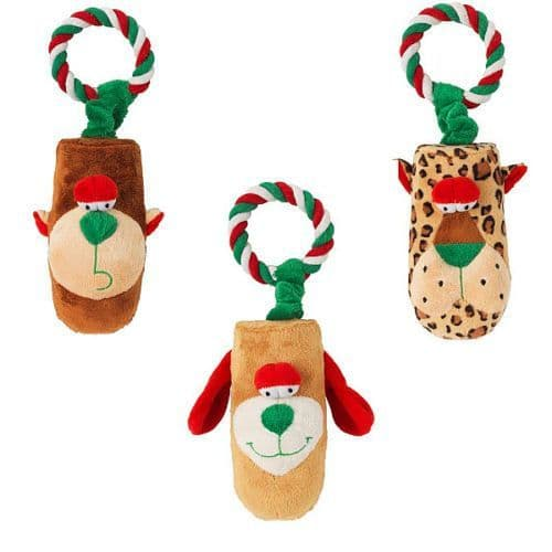 3 x Christmas Gift Dog Toy Petface Tug & Squeak  Rope & Squeaker