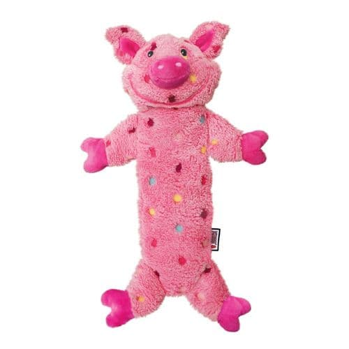 KONG Low Stuff Speckles Plush Dog Toy Pig - Large