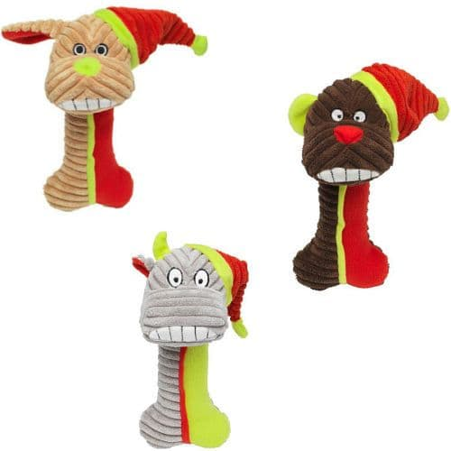 New Christmas Doggy Gnasher Plush Xmas Dog Toy Festive Gift Pet Saver Option (1)