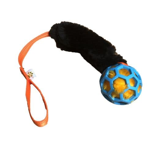 Paws Made Cosmic - Cage Ball with Squeaker and Black Sheepskin & Standard Flat Handle
