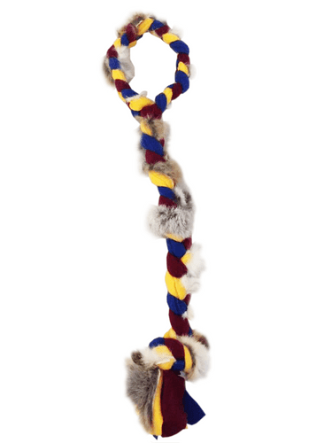 Paws Made Fleece Rabbit Plaitted Handle Tugger - Great for motivation and reward
