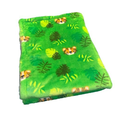 Paws Made Super Soft Blanket - GREEN TIGER - Crate Cage Blanket Dog Bed