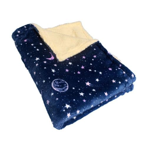 Paws Made Super Soft Blanket - NAVY COSMIC - Crate Cage Blanket Dog Bed