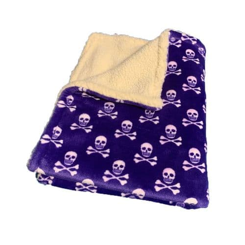 Paws Made Super Soft Blanket - PURPLE SKULL & CROSS BONE - Crate Cage Blanket Dog Bed