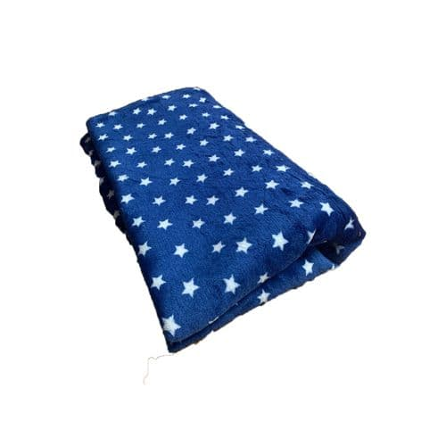 PawsMade Super Soft Blanket - Navy Small Star - Crate Cage Blanket Dog Bed