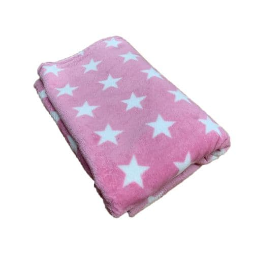 PawsMade Super Soft Blanket - PINK WITH BIG STARS - Crate Cage Blanket Dog Bed