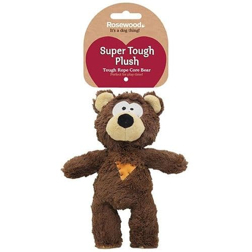 Rosewood Tough Plush Knot Rope Core Bear Dog Squeaky Toy 39036