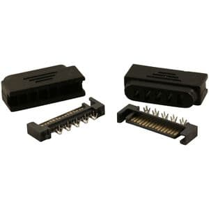 Pack of 2 Black Male 15 Pin SATA Power Connectors With Covers