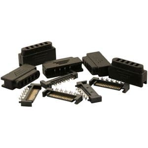 Pack of 5 Black Male 15 Pin SATA Power Connectors With Covers