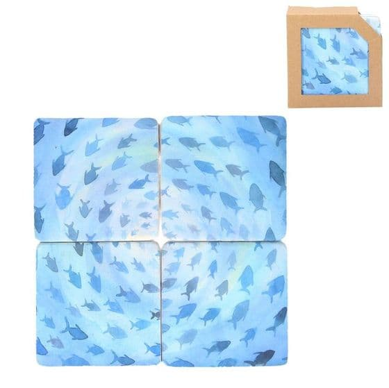 Blue Fish - Set Of 4 Coasters