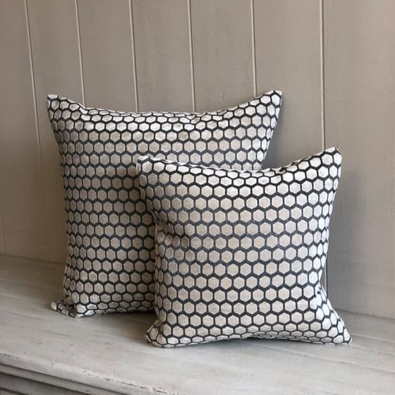 Cream & Grey Honeycomb Cut Velvet Cushion - 43cm
