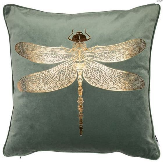 Green Copper Dragonfly Velvet Cushion