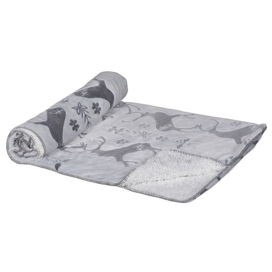 Grey Reindeer Plush Blanket