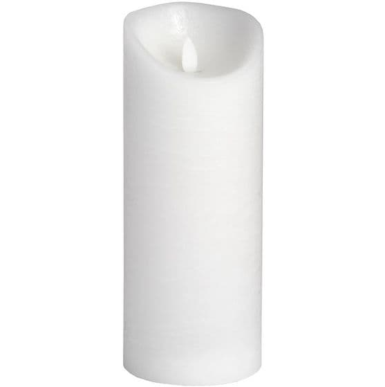 "LED White Silver Wax Flicker Flame Candle - 9"" x 3.5"""
