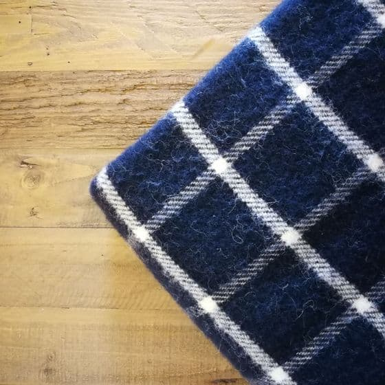 Navy Blue Wool Blanket / Throw - Chequered