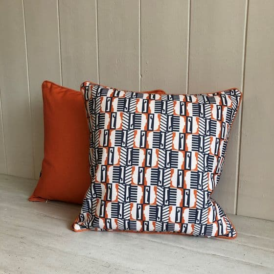 Orange Abstract Seahorse Cushion - 45cm