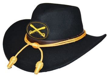 Black Slouch Hat Gold Cord & Cavalry Badge