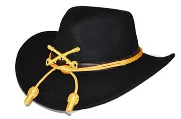 Black Slouch Hat Gold Cord & Metal Cavalry Badge