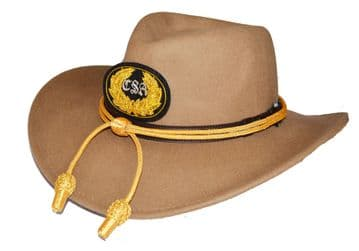 Confederate Butternut Slouch Hat Gold Cord & Black CSA Badge