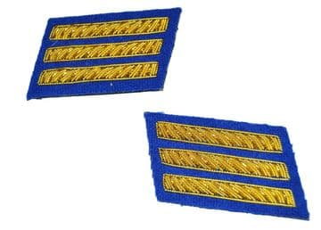 Confederate Infantry Captains Royal Blue Collar Insignia Set