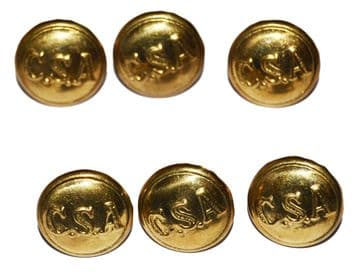 Confederate Large Frock Coat Or Shell Jacket Buttons x 6