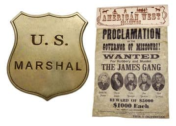 James & Younger Gang Wanted Poster With Marshall's Badge