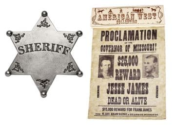 Jesse & Frank James Wanted Poster With Sheriffs's Badge