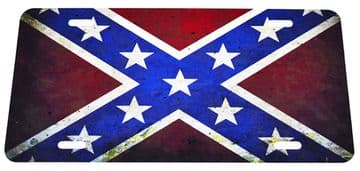 Metal Rustic Style Confederate Flag Car Licence Plate