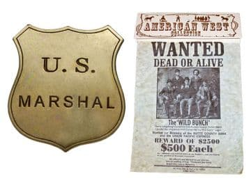 Replica Butch & Sundance Wild Bunch Wanted Poster & Badge
