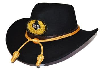 Union Black Slouch Hat Gold Cord & US Badge