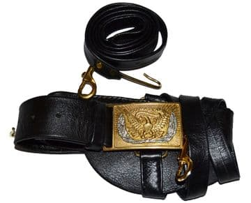 Union Officers Leather Sword Belt With Square Silver Wreath Buckle
