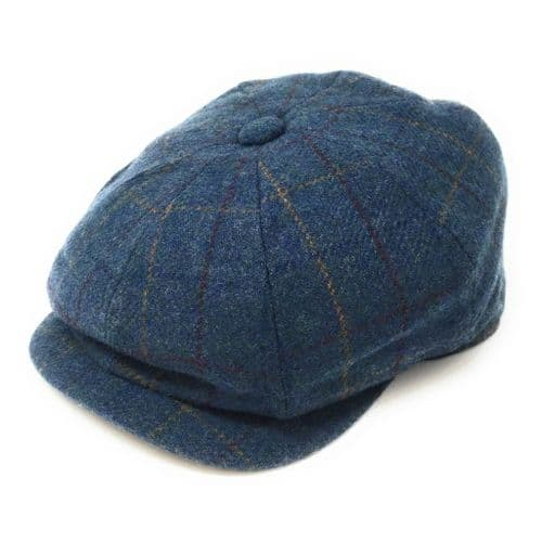 8 Piece Newsboy Cap - Blue Check Tweed Gatsby