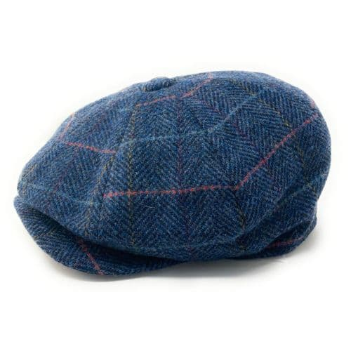 8 Piece Newsboy Cap - Blue Herringbone Check Tweed Gatsby