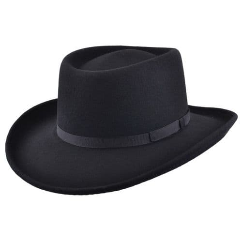 Gambler Cowboy Hat Black Wool Felt with Ribbon Trim