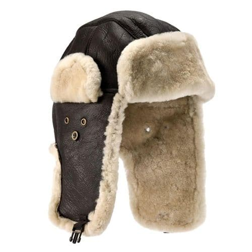 Aviator Sheepskin Flying Leather Trapper Hat - Shelford