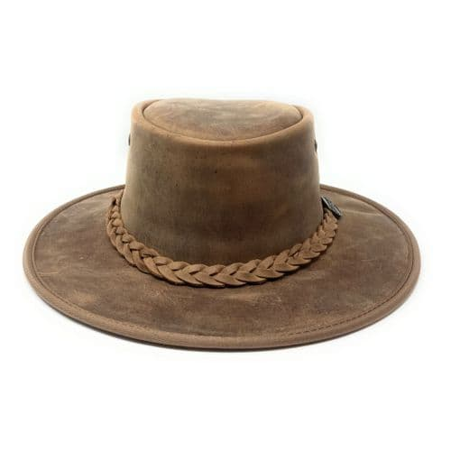 Barmah Bronco Foldaway Leather Outback Hat - 1060 - Hickory
