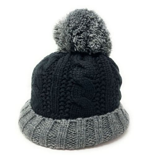 Black and Grey Wool Cable Knit Bobble Hat
